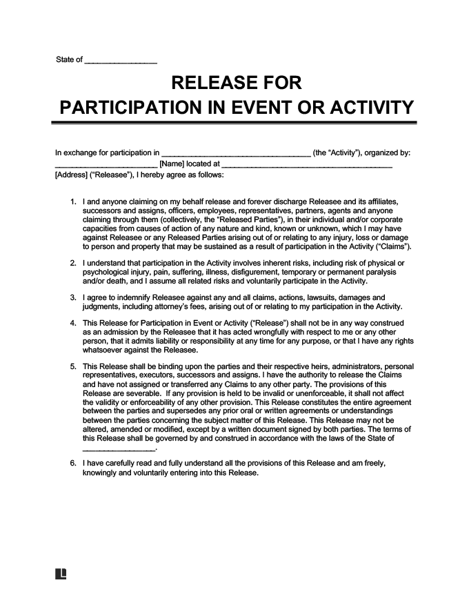 Example Of A Liability Waiver For Events And Activities  General Release Of Liability Form Template