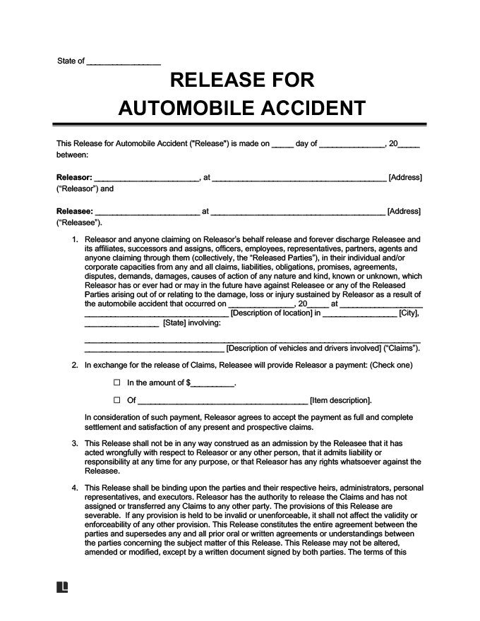 Example Of Liability Release For An Automobile Accident  Free Printable Liability Release Form
