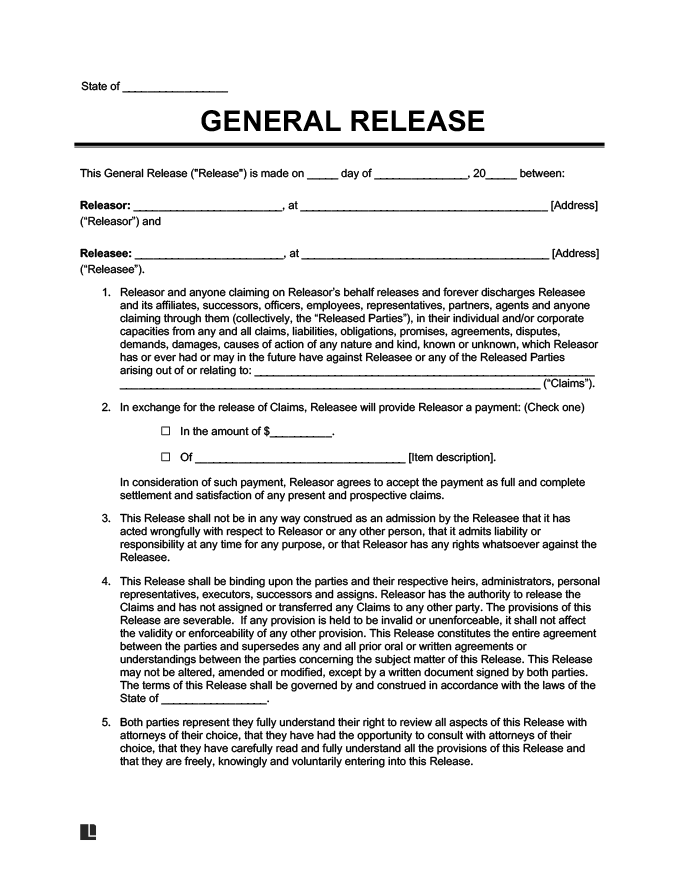 General Release. Example Of A General Liability Waiver Form  Generic Release Of Liability Form