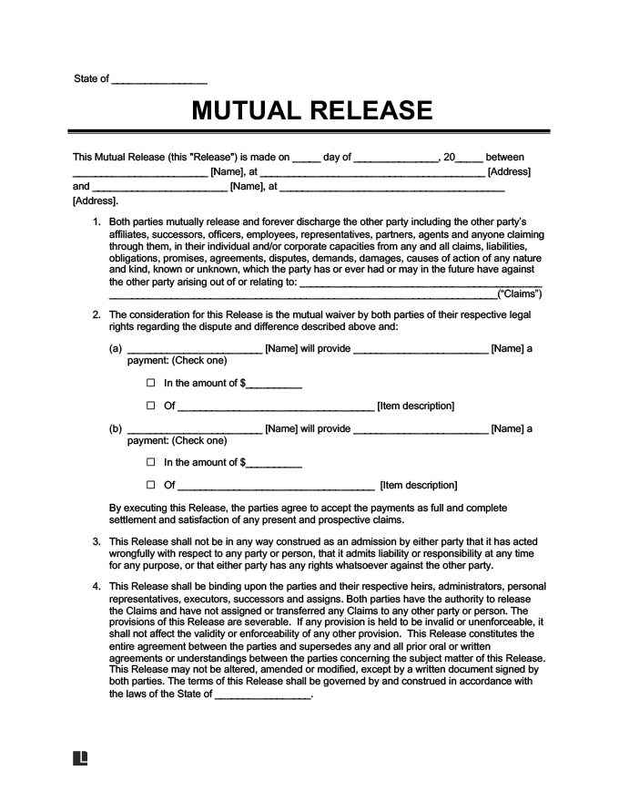 Example Of A Mutual Liability Release Form  Liability Contract Template