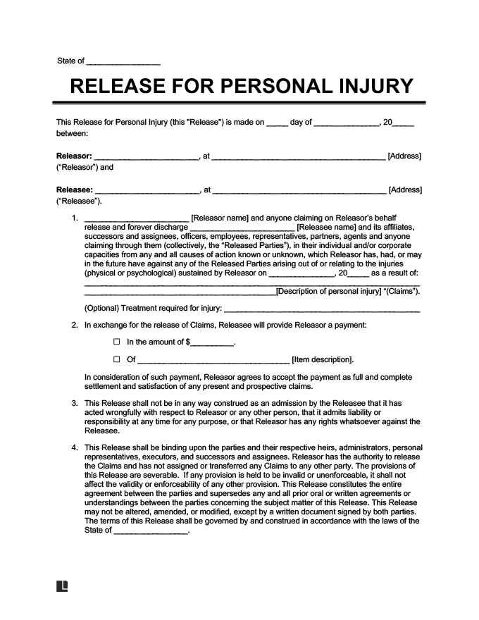 example of liability release for personal injury