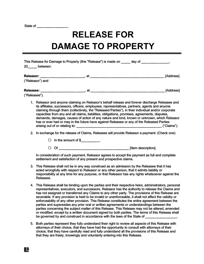 example of a liability waiver for damaged property