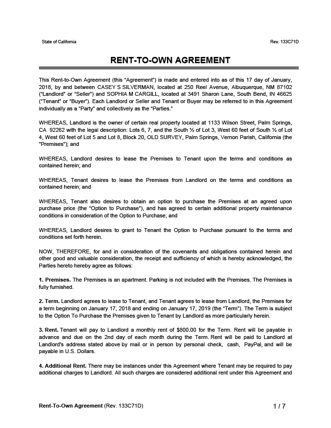 Rent-to-Own Agreement Sample