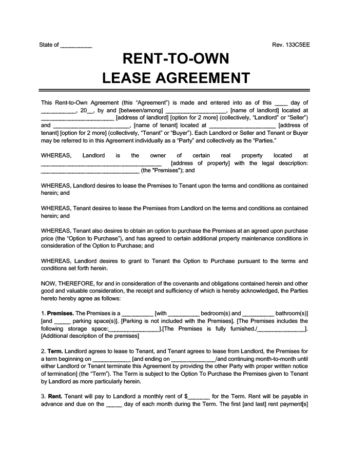 sample image of a lease purchase agreement also known as a rent to own agreement