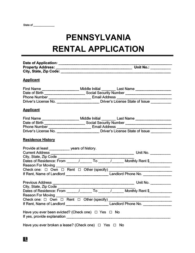 Pennsylvania Lease Rental Application Form Template