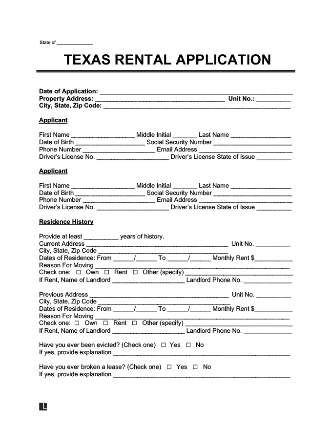 texas rental application form create a free tx lease. Black Bedroom Furniture Sets. Home Design Ideas