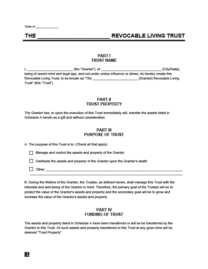 Revocable Living Trust Form Create A Revocable Living Trust