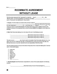 sample image of a roommate agreement without lease