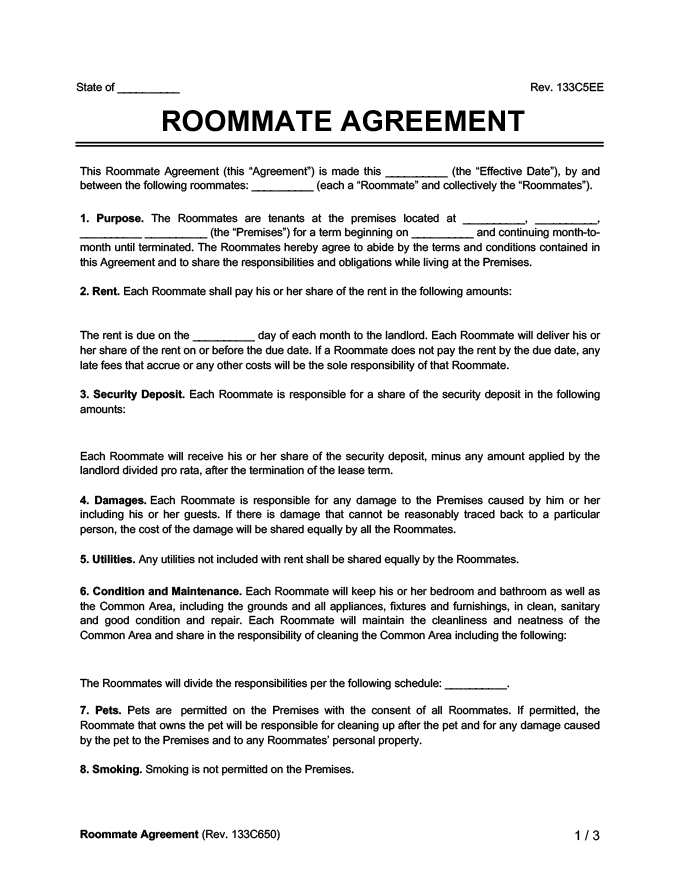 Roommate agreementcontract create download a free template template roommate agreement template platinumwayz
