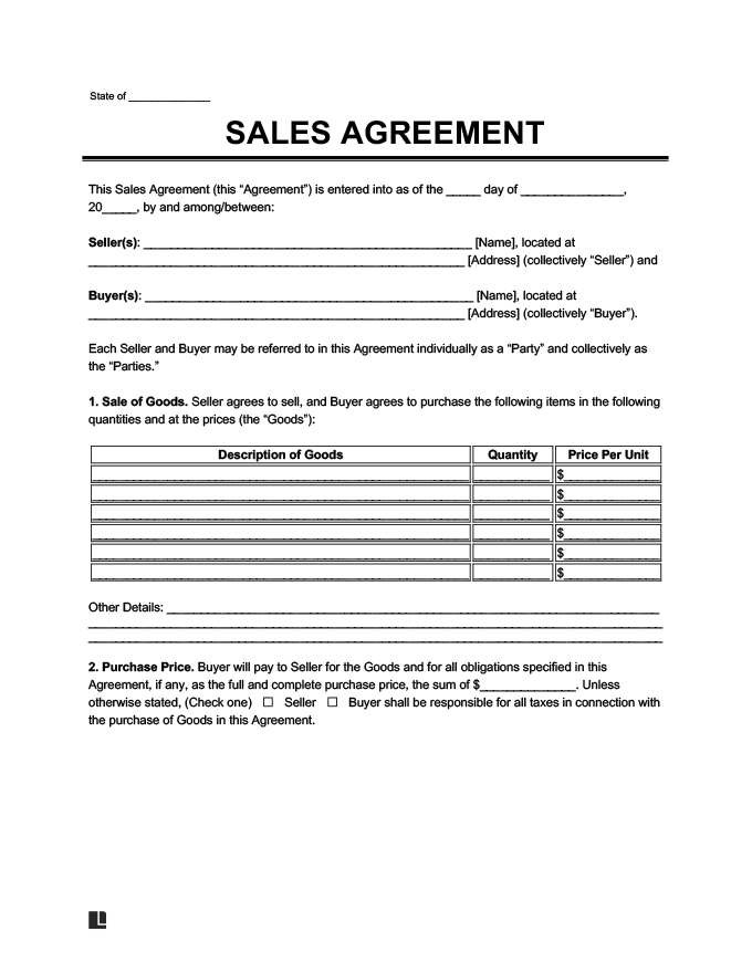 Sales Agreement Create a Free Sales Agreement Form – Agreement