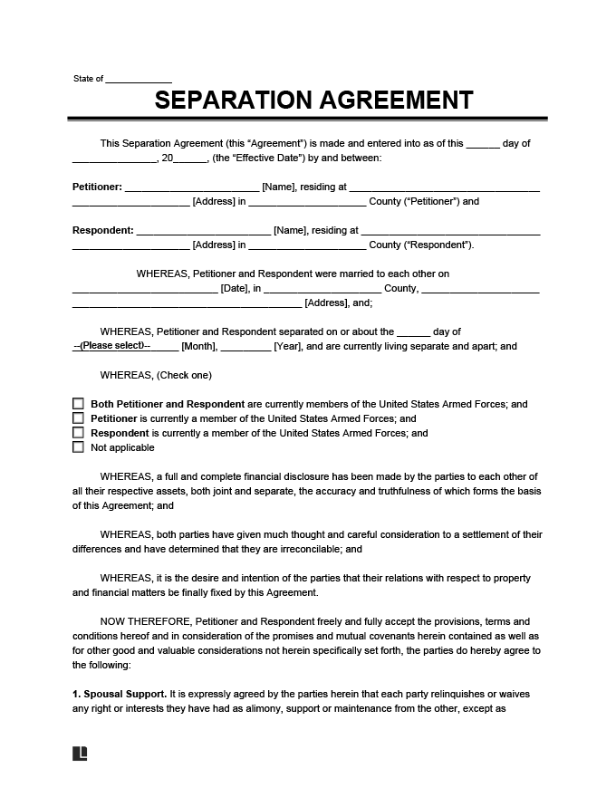 Separation agreement form create a free separation agreement separation agreement form template solutioingenieria Choice Image
