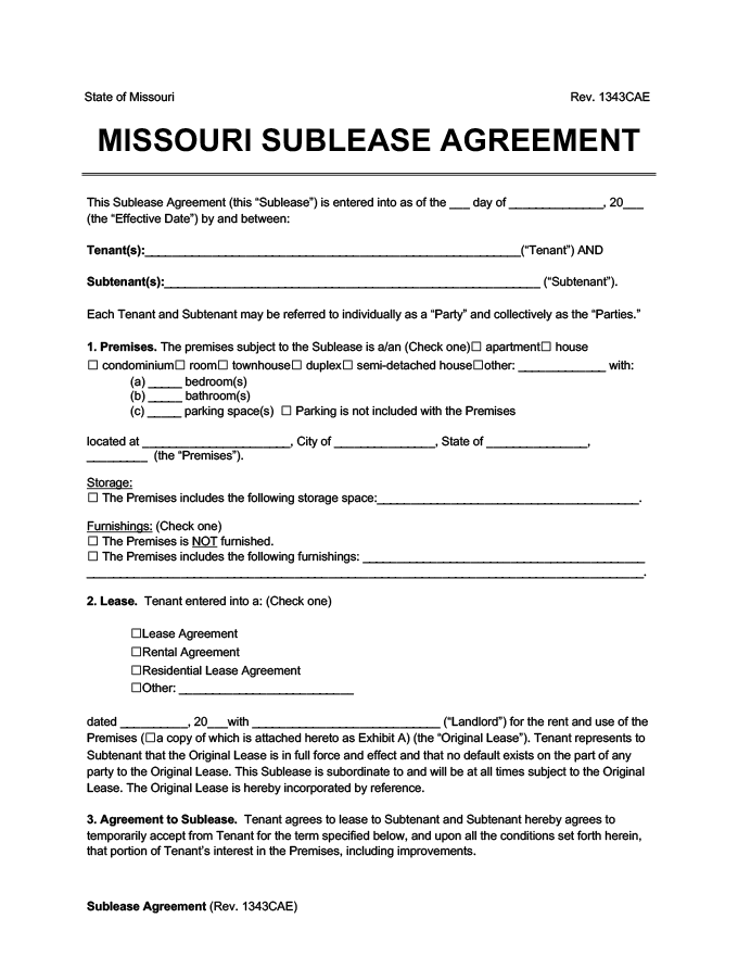 Missouri sublease agreement