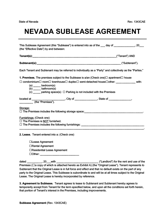 Nevada sublease agreement