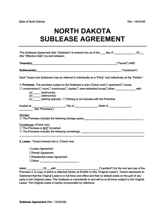 North Dakota sublease agreement