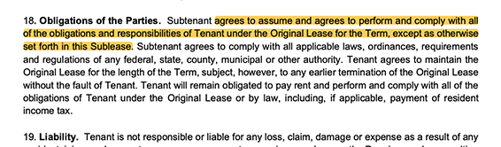 highlighted image of the obligations of both parties section in a sublease agreement