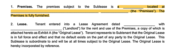 highlighted image of the address of the premises section of a sublease agreement