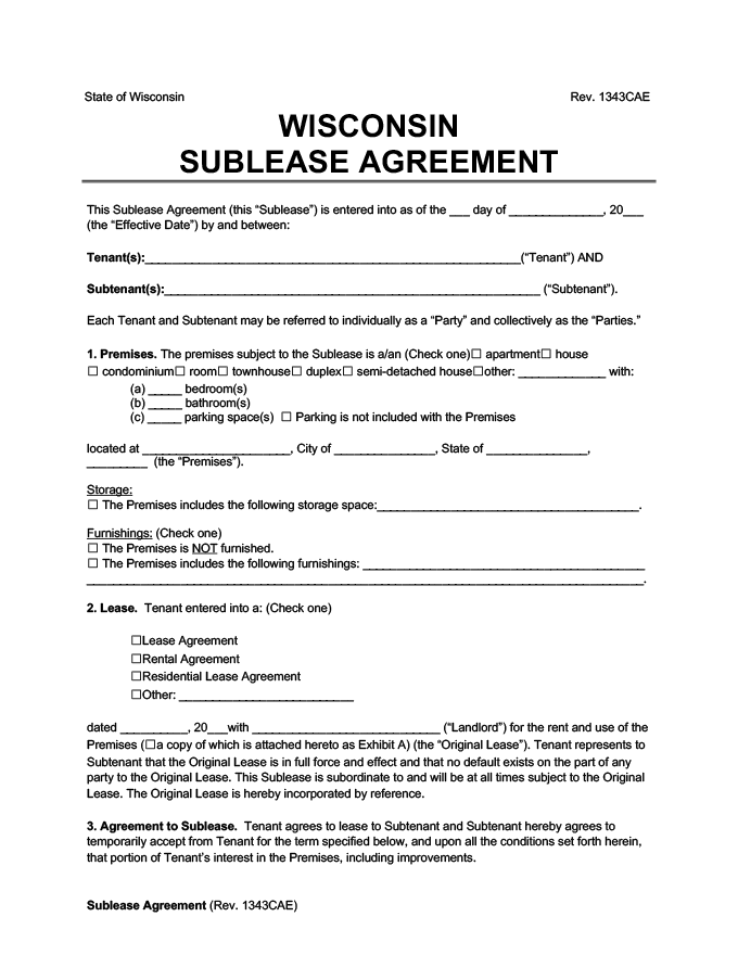 Wisconsin sublease agreement
