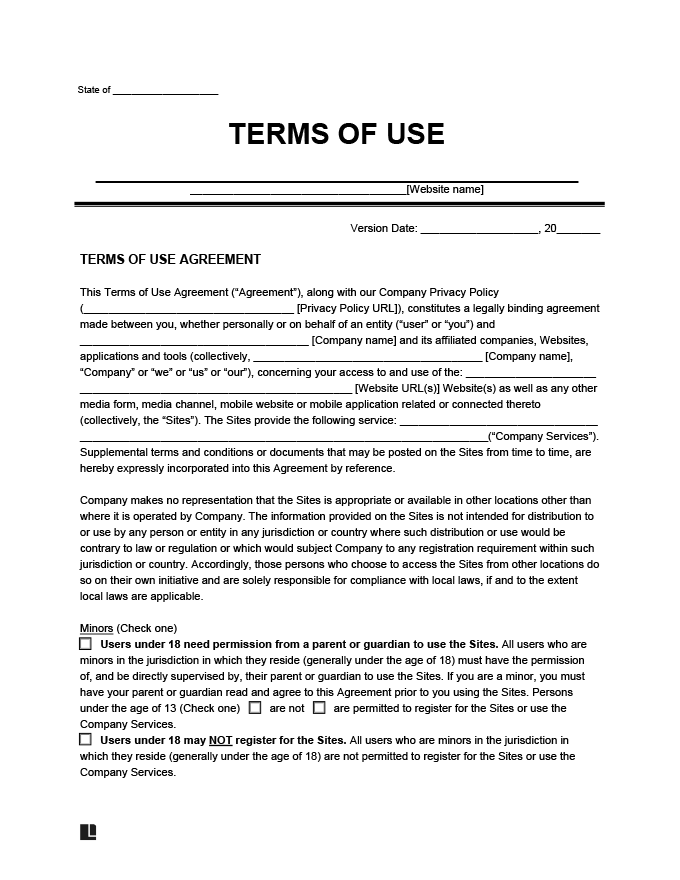 Terms of Use example form