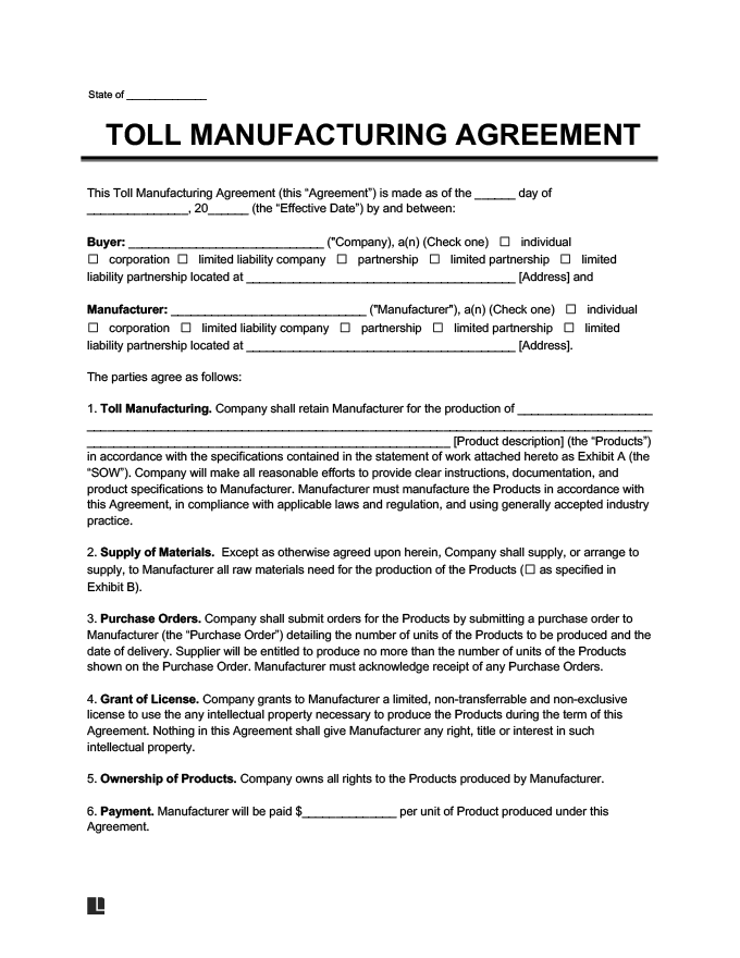 Manufacturing agreement template 28 images production for Product license agreement template