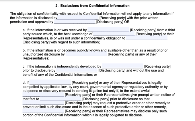 exclusions to confidential information clause in example non-disclosure agreement
