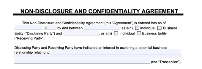 sample NDA parties to the agreement clause