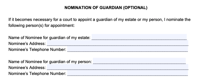 Filling Out a Power of Attorney Form Step 3: Nominate a Guardian