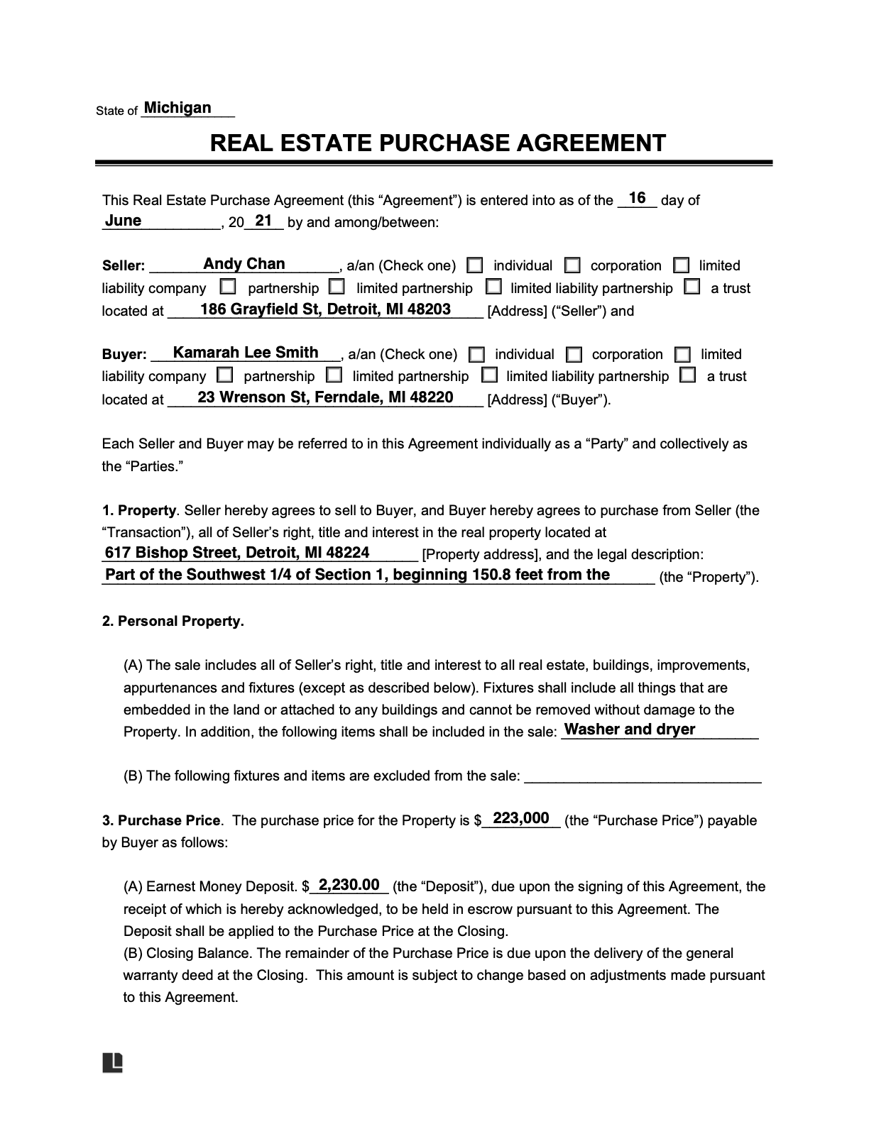 sample real estate purchase agreement template
