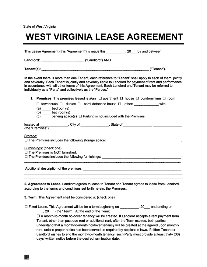 West Virginia lease agreement